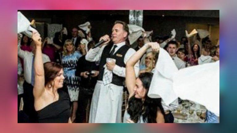 Surprise singer at wedding